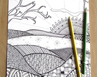 Zentangle Landscape - A4 Printable Colouring Page, PDF Download, Adult Colouring, Zentangle-inspired, Mindfulness