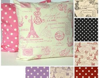 20% OFF SALE French pillow, Paris Pillow , Pink, Purple, Onyx, Red , Euro sham, cushions, pillow cover ZIPPER Closure