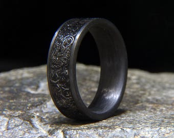 meteorite shavings inlay carbon fiber wedding band or ring - Meteorite Wedding Ring