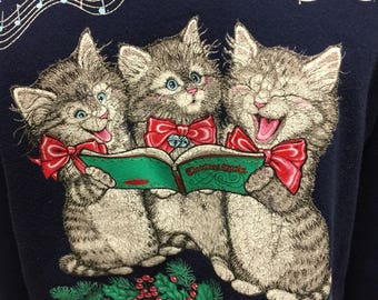 Ugly Christmas Sweater Morning Sun Sweatshirt Cat Shirt Singing Kitten