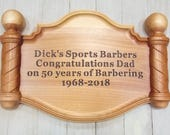 BARBER SHOP SIGN, Custom Wooden Sign, Barber Gift, Personalized Barber Shop Decor, Barber Pole, Barber Shop, Custom Barber Sign Wood Carving
