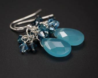 Aqua quartz earrings, aqua quartz faceted teardrops, swarovski crystal and sterling silver drop earrings aqua teal blue teardrop earrings