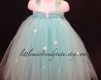 Queen Elsa Turquoise Tutu Dress with Matching Snowflake Cape, Frozen Inspired Tutu Dress. Elsa Costume, Halloween Costume, Frozen Costume