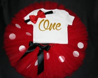 Red Minnie Mouse First Birthday Outfit, Birthday Tutu Set, First Birthday l Outfit, Minnie Mouse, 1st Birthday Tutu Set, 1st Birthday Tutu