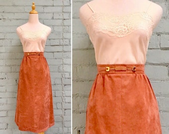 1980s faux suede skirt / 80s a-line midi skirt / 1980s ultrasuede skirt / 80s tan suede skirt / size medium