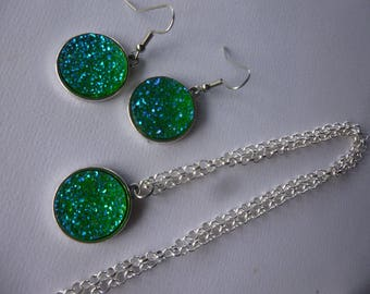 Kit set earrings and necklace rhinestone, silver and bright green