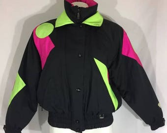 Fera Puffer Jacket Black and Neon Geometric Shapes w Soft Lining Size 10