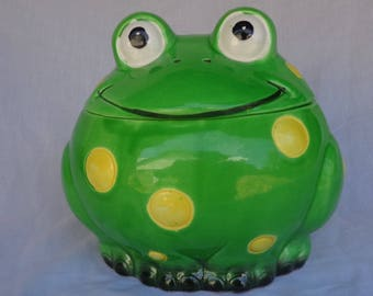 COOKIE JAR ~  Frog,  Little Green Frog with Yellow Dots.  Made in Japan