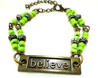 Bronze Believe Bracelet, Green Bracelet, Beaded Bracelet, Gift for Her, Girls Bracelet, Bronze Bracelet,Inspiration Bracelet, Believe Charm