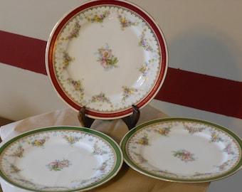 Three Imperial Crown China Salad Plates (Austria)
