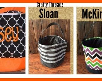 Monogrammed Halloween Buckets, Personalized Halloween Buckets,Trick or Treat Bags, Personalized Halloween Bag