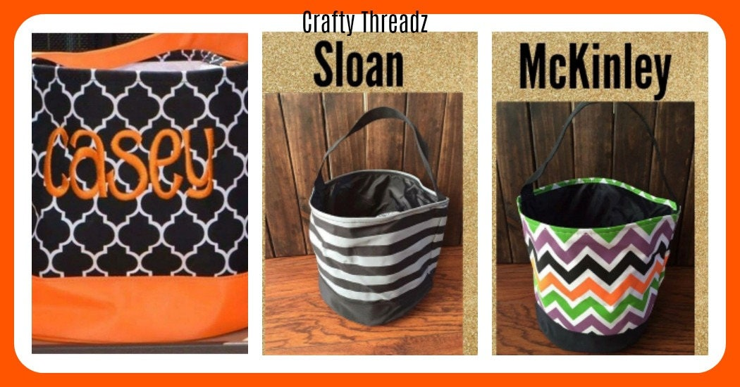 monogrammed halloween buckets personalized halloween bucketstrick or treat bags personalized halloween bag