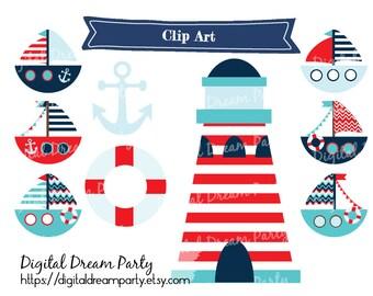 Nautical Clip Art Digital Sailor Scrapbook Images ddp0001