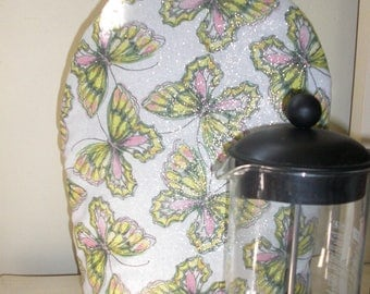 French Press Coffee Cozy Shimmering Butterflies Insulated with InsulBright and Warm Fleece