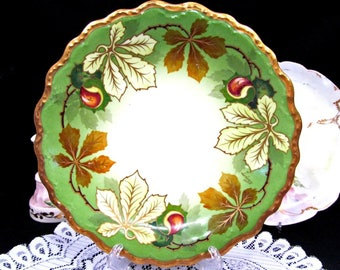 Limoges France Hand Painted Plate Artist Signed Scalloped Gold Edges