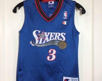 1990s kid's vintage Sixers #3 Allen Iverson Champion brand NBA basketball jersey kids size small 6-8 Philadelphia 76ers blue tank top