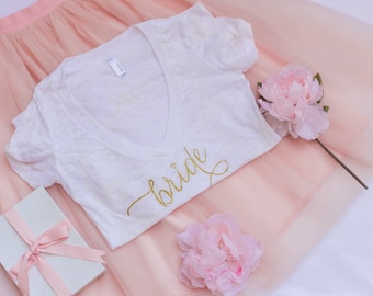 SALE - Gold and White -  Bride Shirt, Wifey Shirt, Bride to be, T-shirt, V-Neck, Gifts for Bride , Bridal Shower Gift, Bachelorette Party