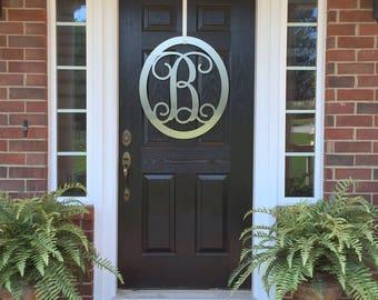CLASSY CLASSIC: Metal Monogram Door Wreath, Monogram Door Hanger, Front Door  WREATHS,
