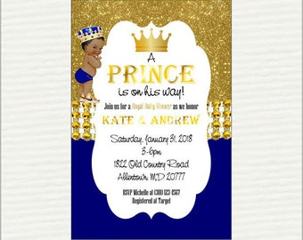 Royal Blue & Gold Prince Baby Shower Invitation, Digital Invitations, Printable Baby Shower Invitations for Boy