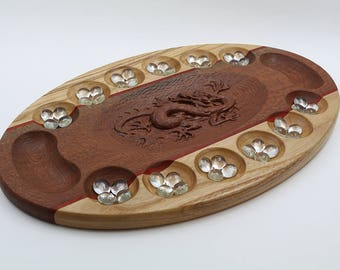 Hardwood Mancala Game with Carved Chinese Dragon