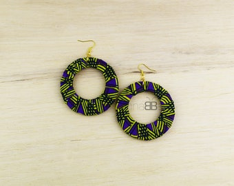 African fabric hoop earrings, boucles d'oreilles ethniques, boucles d'oreilles en tissu wax, ankara earrings, textile hoop earrings