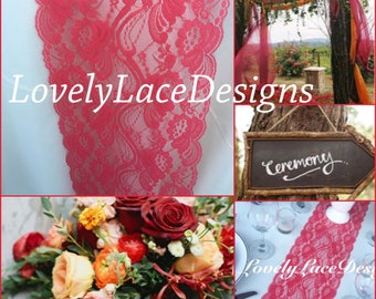 """Fall Centerpiece/30ft Coral Lace Table Runner/ 7"""" Wide /Wedding Decor/ Lace Overlay/Tabletop Decor/Weddings/ ENDS NOT SEWN/fall weddings"""