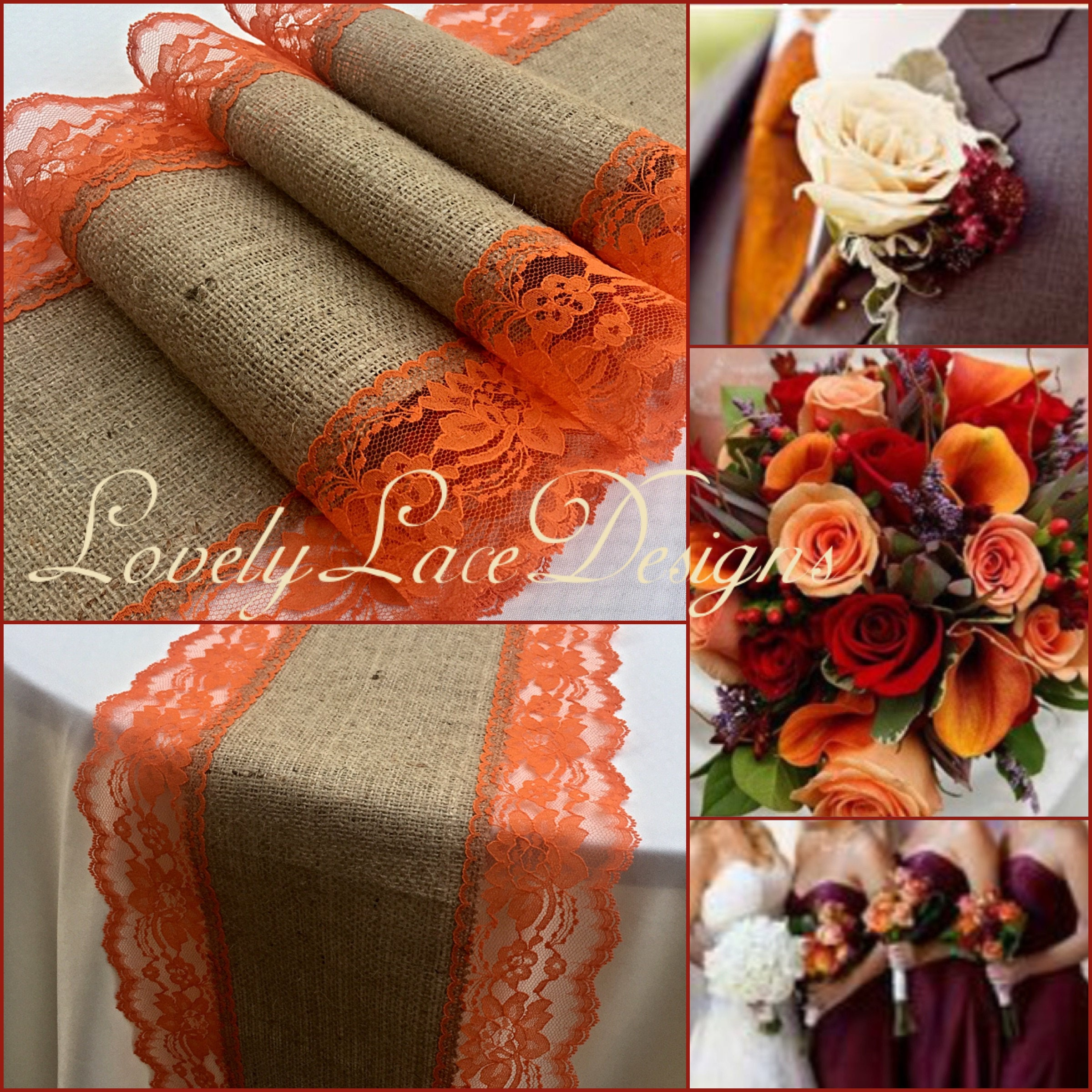 Burlap Lace Table Runner /Burnt Orange/3FT 10FT X 11 Wide/Rustic/Wedding  Decor/Weddings/fall Decoration/centerpiece/tabletop