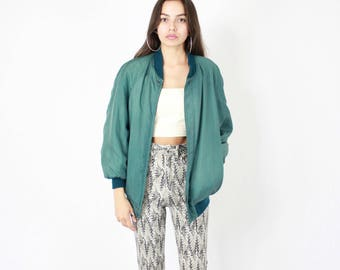 80s Silk Bomber // Vintage 1980s, bomber jacket, 1980s 80s, forest green