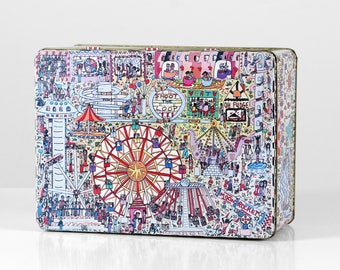 Coney Island tin, James Rizzi tin, pop art container, print container, Barringer Wallis and Manners