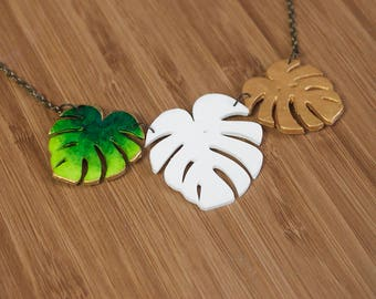 Tropical leaf golden, green & white Necklace