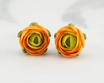Small stud earrings for women, everyday earrings, birthday gift for her, gifts for mom, orange flower earrings, polymer clay jewelry