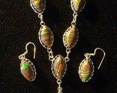 "SPRING FLING SALE Gorgeous ""Mexican"" Rainbow Calsilica Necklace/Earring Set  925 Sterling Silver 19"" Necklace 2"" Earrings"