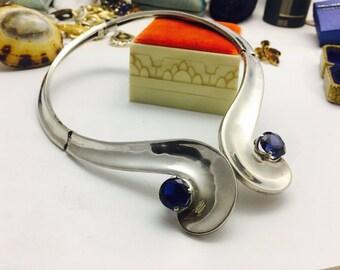 Vintage Antonio Reina Modernist sterling silver & Sapphire  Art-Deco Repousse Hecho En MEXICO 925 AAR Necklace- 97.6 grams