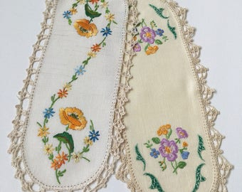 2 Vintage Hand-Embroidered Sandwich Doilies with Crochet edging