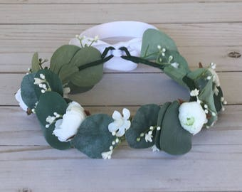 Silver Dollar Eucalyptus Flower Crown, White Eucalyptus Flower Girl, Child Bridal, Boho Flower Girl, White Woodland Crown, Spring Wedding