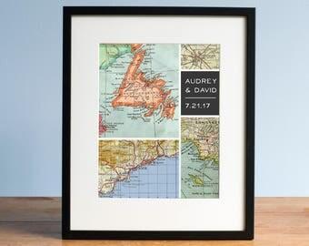 Modern Grid Personalized Map Art, Wedding Gift, Gift for Groom, Gift for Dad, Gift for Uncle, Map Design, Map Art Print