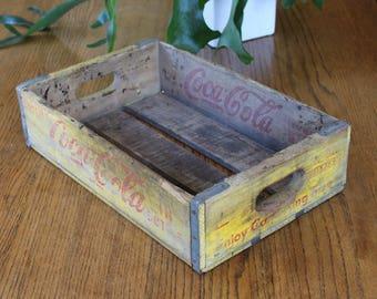Vintage Coca Cola Crate / Yellow Coca Cola Wood Crate / Vintage Coke Box / Wood Coca Cola Box / Vintage Soda Advertising