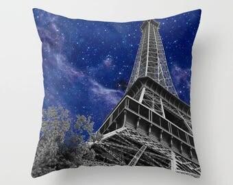 Paris Nights Throw Pillow - blue sky milky way, nebula, stars,  modern, Eiffel tower,  pillows, cushions, throw pillow