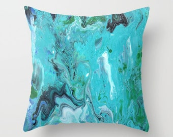Blue Marble decorative Throw Pillow,  paint swirls,  abstract, modern, sophisticated,  beautiful chic decor