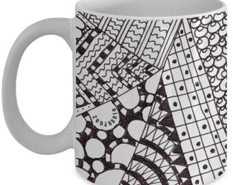 "Ceramic Zentangle Mug hand drawn tangle art by ZenJoanie - ""Angles"" B/W - Authentic Zentangle Stuff Make Great Gifts"