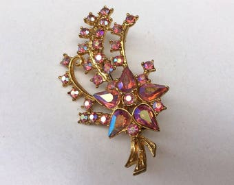 Vintage Pink Mirrored Glass Rhinestone Shooting Star Design Costume Brooch