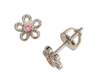 Sterling Silver Outline Daisy Earrings with Pink CZ for Girls with Screw Backs (SSE-Daisy-Outline - Pink)