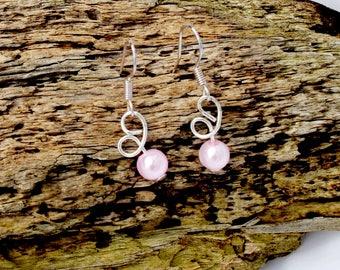 twisted design 2 Stunning balls  handmade   earrings  pinks  wedding  beach