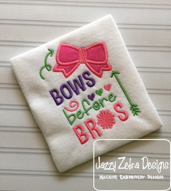 Bows before bros saying appliqué embroidery design - cheer embroidery design - cheerleader embroidery design - girl embroidery design - bows