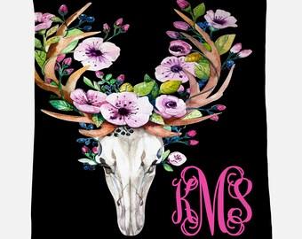 Monogrammed Blanket |Bull Skull | Personalized Blanket | Monogrammed Gift