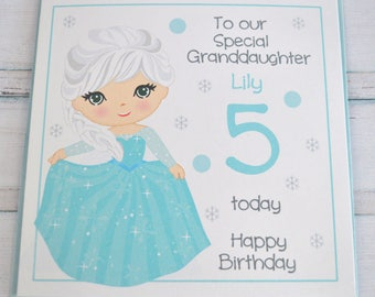 Handmade Personalised. Customised. Frozen Princess Elsa Birthday Greeting Card. 2nd 3rd 4th 5th 6th 7th 8th 9th 10th 11th