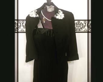 1940's Irene Karol Little Black Dress with Cardigan Sweater, 1940's Rare Irene Karol Junior Original Dress, Vintage 1940's Irene Karol Pleat