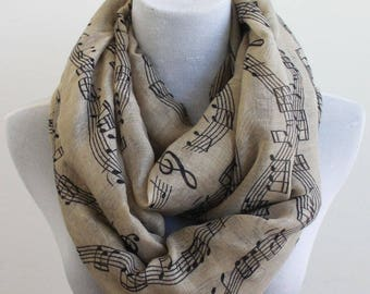 Brown Music Note Infinity Scarf, Music Sheet Scarf, Music Note Scarf, Piano Note Scarf, Pianist Scarf, Gift for Music Teacher
