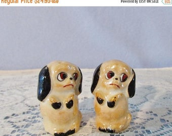 SALE Miniature Dog Salt Pepper Shakers, RARE Antique Salt Pepper Shakers, c 1900 shakers, Lusterware made in Germany,