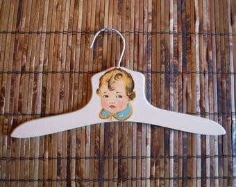 Vintage 1950's Child's Wooden Clothing Hanger - Vintage Girl Decal Wood Clothing Hanger - Vintage '50's Nursery Bedroom Shabby Chic Decor